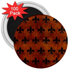 Royal1 Black Marble & Brown Burl Wood 3  Magnet (100 Pack) by trendistuff