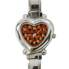 Royal1 Black Marble & Brown Burl Wood Heart Italian Charm Watch by trendistuff