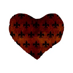 Royal1 Black Marble & Brown Burl Wood Standard 16  Premium Heart Shape Cushion  by trendistuff