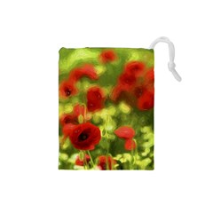 Poppy Vi Drawstring Pouches (small)  by colorfulartwork