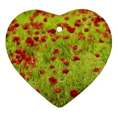 Poppy Viii Heart Ornament (2 Sides) by colorfulartwork