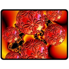 Flame Delights, Abstract Crimson Red Fire Fractal Fleece Blanket (large)  by DianeClancy
