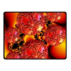 Flame Delights, Abstract Crimson Red Fire Fractal Double Sided Fleece Blanket (small)  by DianeClancy