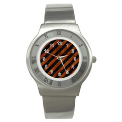 Stripes3 Black Marble & Brown Burl Wood Stainless Steel Watch by trendistuff