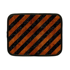 Stripes3 Black Marble & Brown Burl Wood Netbook Case (small) by trendistuff
