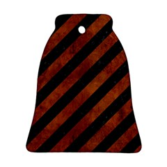 Stripes3 Black Marble & Brown Burl Wood Bell Ornament (two Sides) by trendistuff