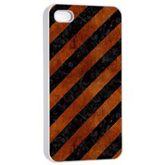 Stripes3 Black Marble & Brown Burl Wood Apple Iphone 4/4s Seamless Case (white) by trendistuff