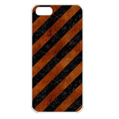Stripes3 Black Marble & Brown Burl Wood Apple Iphone 5 Seamless Case (white) by trendistuff