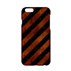 Stripes3 Black Marble & Brown Burl Wood Apple Iphone 6/6s Hardshell Case