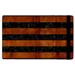 Stripes2 Black Marble & Brown Burl Wood Apple Ipad 2 Flip Case by trendistuff
