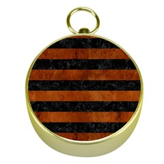 Stripes2 Black Marble & Brown Burl Wood Gold Compass by trendistuff