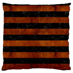Stripes2 Black Marble & Brown Burl Wood Large Flano Cushion Case (two Sides) by trendistuff