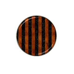 Stripes1 Black Marble & Brown Burl Wood Hat Clip Ball Marker by trendistuff