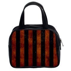 Stripes1 Black Marble & Brown Burl Wood Classic Handbag (two Sides) by trendistuff