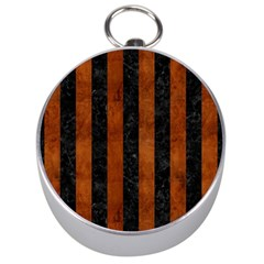 Stripes1 Black Marble & Brown Burl Wood Silver Compass