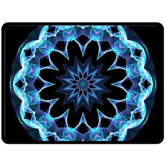 Crystal Star, Abstract Glowing Blue Mandala Double Sided Fleece Blanket (large)  by DianeClancy