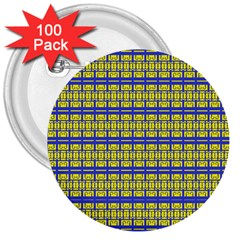 No Vaccine 3  Buttons (100 Pack)