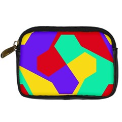 Colorful Misc Shapes                                                  	digital Camera Leather Case by LalyLauraFLM