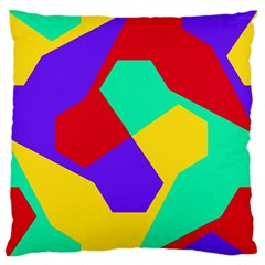 Colorful Misc Shapes                                                  	large Flano Cushion Case (two Sides) by LalyLauraFLM