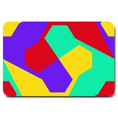 Colorful Misc Shapes                                                  			large Doormat by LalyLauraFLM