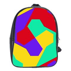 Colorful Misc Shapes                                                  			school Bag (large) by LalyLauraFLM