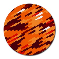 Brown Orange Shapes                                                    			round Mousepad by LalyLauraFLM