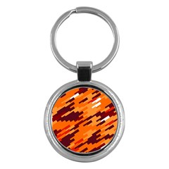 Brown Orange Shapes                                                    			key Chain (round) by LalyLauraFLM