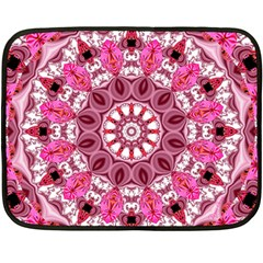 Twirling Pink, Abstract Candy Lace Jewels Mandala  Fleece Blanket (mini)