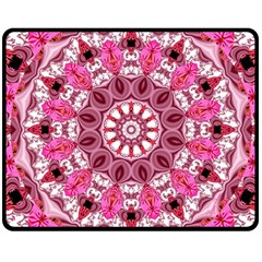 Twirling Pink, Abstract Candy Lace Jewels Mandala  Double Sided Fleece Blanket (medium)  by DianeClancy