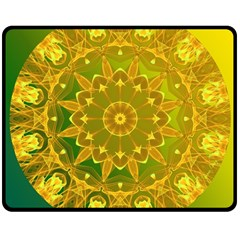 Yellow Green Abstract Wheel Of Fire Double Sided Fleece Blanket (medium)