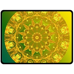Yellow Green Abstract Wheel Of Fire Double Sided Fleece Blanket (large)