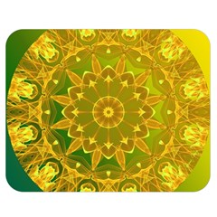 Yellow Green Abstract Wheel Of Fire Double Sided Flano Blanket (medium)  by DianeClancy
