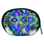 Abstract Peacock Celebration, Golden Violet Teal Accessory Pouches (Medium)  Back