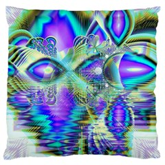 Abstract Peacock Celebration, Golden Violet Teal Standard Flano Cushion Case (one Side)