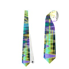 Abstract Peacock Celebration, Golden Violet Teal Neckties (one Side)  by DianeClancy