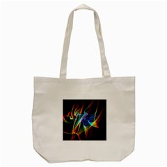 Aurora Ribbons, Abstract Rainbow Veils  Tote Bag (cream) by DianeClancy