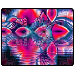 Cosmic Heart Of Fire, Abstract Crystal Palace Fleece Blanket (medium)  by DianeClancy