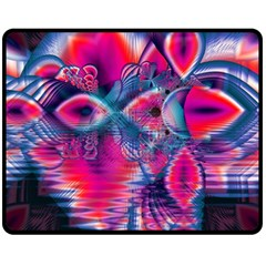 Cosmic Heart Of Fire, Abstract Crystal Palace Double Sided Fleece Blanket (medium)  by DianeClancy