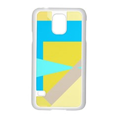 Blue Yellow Shapes                                                        			samsung Galaxy S5 Case (white) by LalyLauraFLM