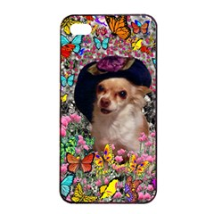 Chi Chi In Butterflies, Chihuahua Dog In Cute Hat Apple Iphone 4/4s Seamless Case (black) by DianeClancy