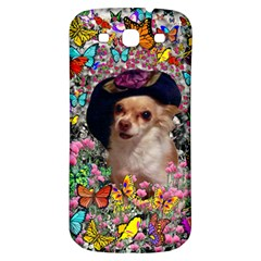 Chi Chi In Butterflies, Chihuahua Dog In Cute Hat Samsung Galaxy S3 S Iii Classic Hardshell Back Case by DianeClancy