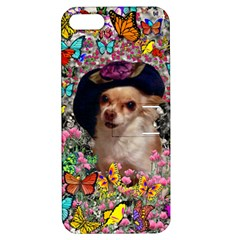 Chi Chi In Butterflies, Chihuahua Dog In Cute Hat Apple Iphone 5 Hardshell Case With Stand by DianeClancy