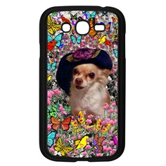 Chi Chi In Butterflies, Chihuahua Dog In Cute Hat Samsung Galaxy Grand Duos I9082 Case (black) by DianeClancy