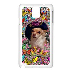 Chi Chi In Butterflies, Chihuahua Dog In Cute Hat Samsung Galaxy Note 3 N9005 Case (white) by DianeClancy