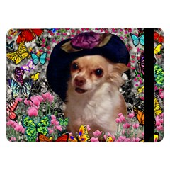 Chi Chi In Butterflies, Chihuahua Dog In Cute Hat Samsung Galaxy Tab Pro 12 2  Flip Case by DianeClancy