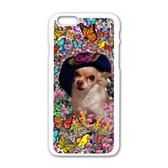 Chi Chi In Butterflies, Chihuahua Dog In Cute Hat Apple Iphone 6/6s White Enamel Case by DianeClancy