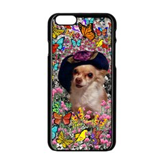 Chi Chi In Butterflies, Chihuahua Dog In Cute Hat Apple Iphone 6/6s Black Enamel Case by DianeClancy