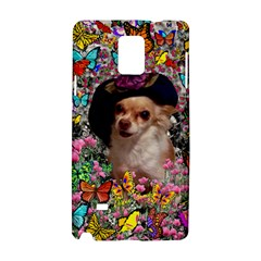 Chi Chi In Butterflies, Chihuahua Dog In Cute Hat Samsung Galaxy Note 4 Hardshell Case by DianeClancy