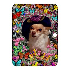 Chi Chi In Butterflies, Chihuahua Dog In Cute Hat Samsung Galaxy Tab 4 (10 1 ) Hardshell Case  by DianeClancy