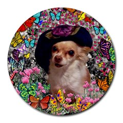 Chi Chi In Butterflies, Chihuahua Dog In Cute Hat Round Mousepads by DianeClancy